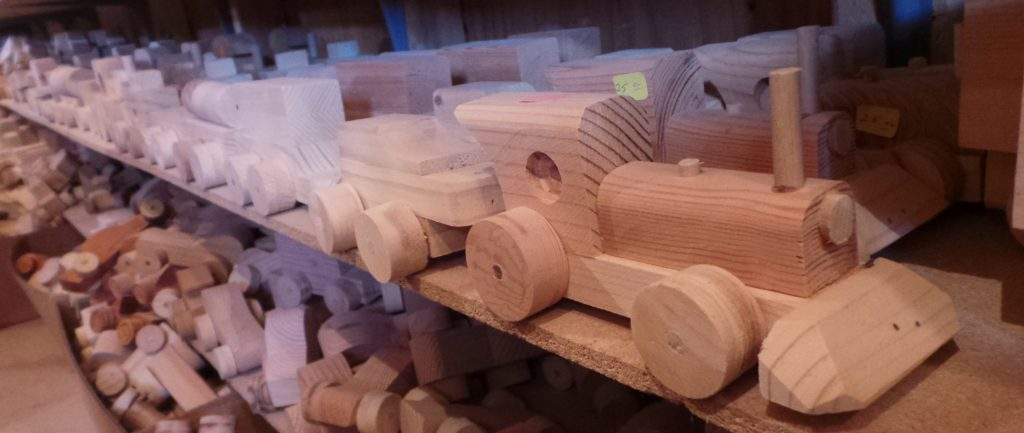 Image of wooden toy train on shelf