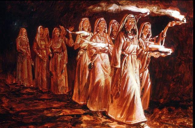 Illustration depicting the 10 virgins from Matthew 25 of the New Testament.