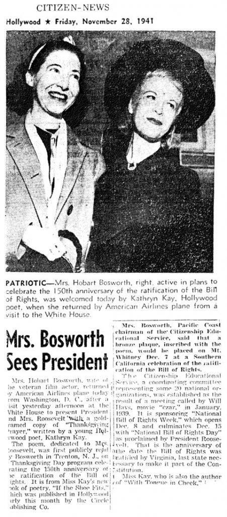 News clipping of Kathryn Kay with Mrs. Hobart Bosworth, anticipating a bronze plaque of her poem atop Mt. Whitney. Article: November 28, 1941