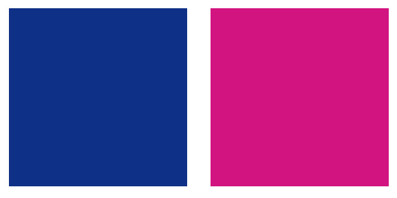 Color swatches of royal pink and blue