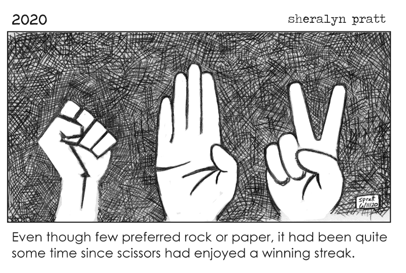 Image of raised antifa fist, the Nazi salute, and a peace sign. Caption: Even though few preferred rock or paper, it had been quite some time since scissors had enjoyed a winning streak.