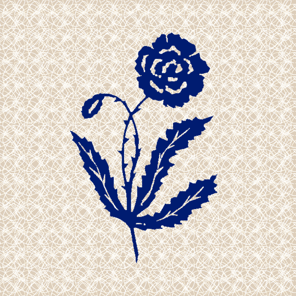 Image of blue logo flower with beige and white patterned background.
