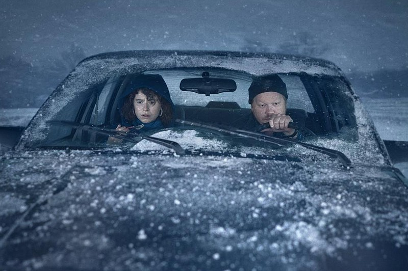 "Netflix 2020 film ""Thinking of Ending Things"" characters in car in a snowstorm"